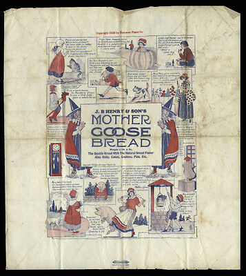 1920 Mother Goose Bread Wrapper, Saniwax Paper Co, JB Henry & Son Bakery, Elmira