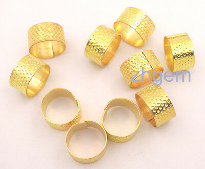 Wholesale 10 pcs gold-plated metal thimble adjustable stitch needle hoop ring