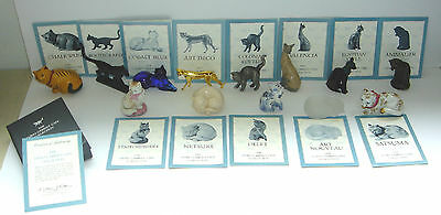 Franklin Mint Lot of 13 Curio Cabinet Cats w/ Booklets