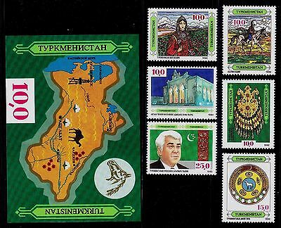 Turkmenistan  Scott# 1, 3, 4, 5, 6, 7, 9 Costume, Necklace, Flag -6 Stamps 1 S/s