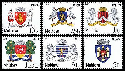 Moldova stamps! Local Coats of Arms, Definitive Stamps, MNH, 2015, 6v