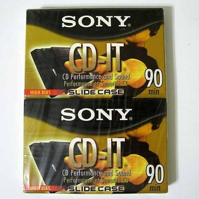 Two (2) Sony CD-IT Type II 90 Minute Blank Audio Cassette Tapes New Sealed NIP