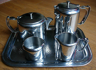 DECO Olde Hall Stainless Steel 5 Piece Tea Set Tea Pot / Jug / Sugar Bowl / Tray