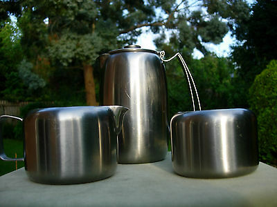Vintage Old Hall *connaught* Stainless Steel Pot, Milk / Cream Jug & Sugar Bowl