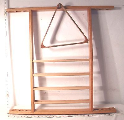 BLONDE OAK MODERN DESIGN POOL CUE RACK WITH BALL HOLDER WALL MOUNT 1960s