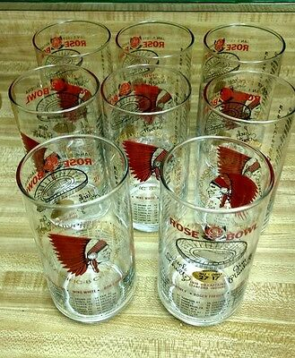 SET OF 8 STANFORD INDIANS 1970 PACIFIC-8 & ROSE BOWL CHAMPIONSHIP 14 oz GLASSES