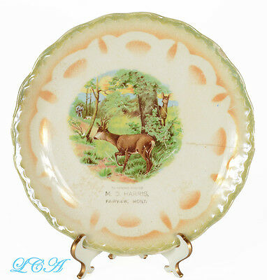 Antique FAIRVIEW MONTANA advertising plate BLUE FRONT STORE / Deer HUNTING scene