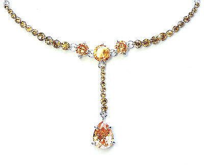 Topaz Color Yellow Necklace Earrings Set