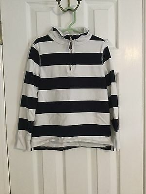 Crew Cuts Boys Half Zip Popover Shirt Long Sleeves Stripes Navy White Size 8