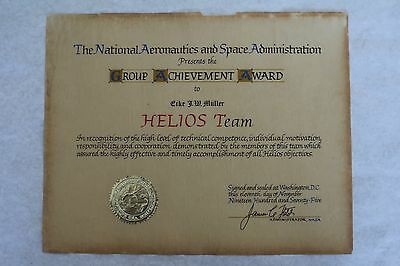 1975 Signed National Nasa Group Achievement Award Helios Team