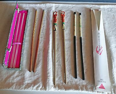 4 pair lot of Chopsticks Frosted Glass? in box, Lacquerware Koi + Bird designs