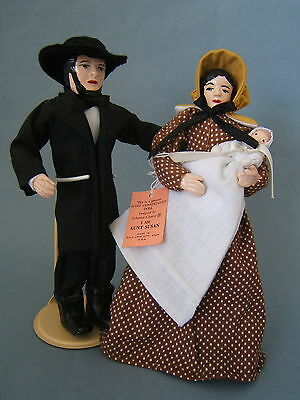 Vintage Handmade Artist Dolls of Utah Mormon Pioneer Man & Lady with Baby