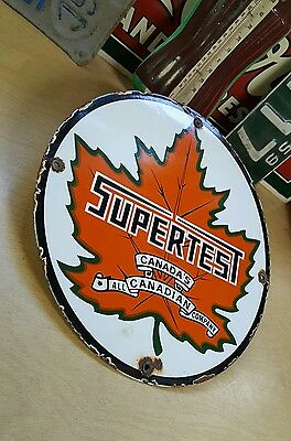 SUPERTEST GASOLINE MOTOR OIL porcelain sign vintage canadian gas pump plate oil