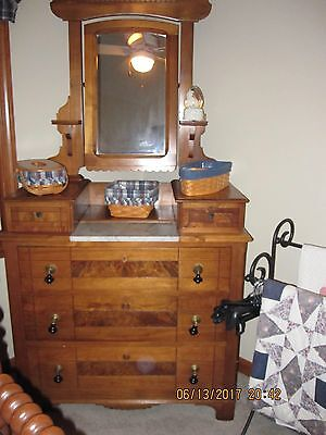 Antique Early 1900's solid wood mirrored dresser with marble insert