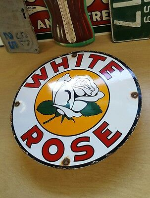 WHITE ROSE GASOLINE porcelain sign vintage petroleum magnoline gas pump plate