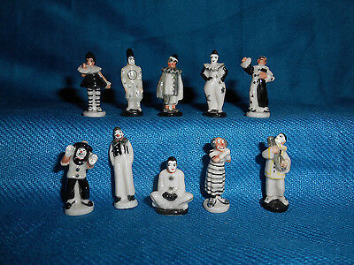 Minature Porcelain WHITE CLOWNS Set of 10 FRENCH FEVES Pantomime PIERROT Auguste