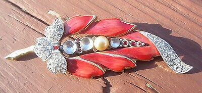 Vintage  Red Enamel leaf with Rhinestones Pin Brooch