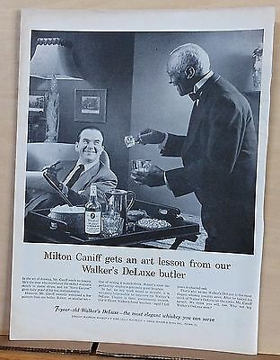 1955 magazine ad for Walker's DeLuxe Whiskey - cartoonist Milt Caniff & butler