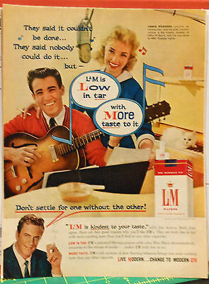 Vintage 1959 ad for L&M cigarettes - Jimmie F. Rodgers & wife sing L & M song