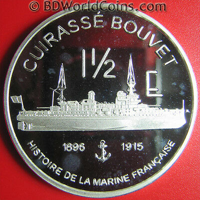2004 MAYOTTE 1 1/2 EURO ESSAI 1oz SILVER PROOF FRENCH NAVY BATTLESHIP BOUVET