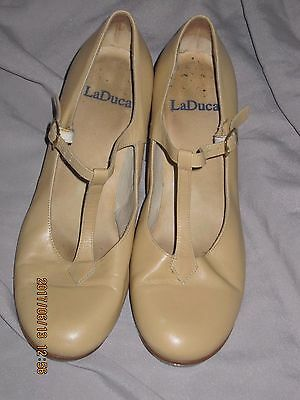 "LaDuca sz 39 Roxie Tap Shoe 2.5"" Tan Leather Character Dance Shoes T-Strap"