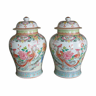 Pair Chinese Porcelain Famille Rose Balluster Jars with Covers