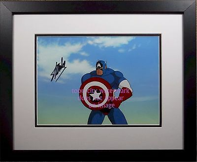 Captain America original PRODUCTION cel hand signed STAN LEE COA MARVEL painted