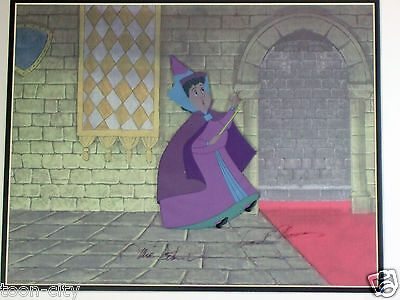 Disney Sleeping Beauty Flora Original production cel Signed Thomas Johnston
