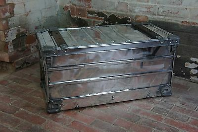 Large Vintage Aluminium Polished Aviation Trunk Coffee Table