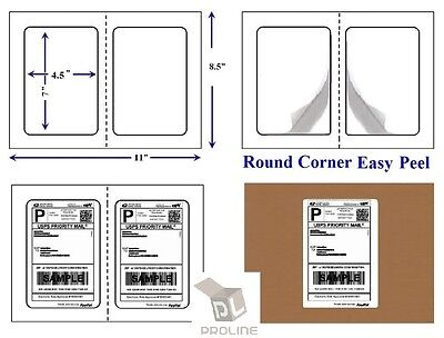 """1000 Quality Round Corner Perforated Shipping Labels 2 Per Sheet 7"""" x 4.5"""""""