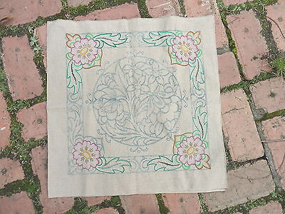CUSHION  COVER   Partly   EMBROIDERED   Linen     VINTAGE