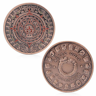 The Mayan Aztec Long Count Calendar Red Bronze Commemorative Coin Collection Art