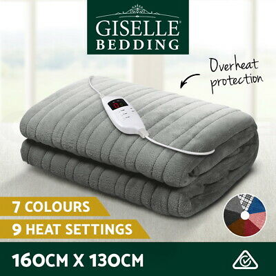 Giselle Bedding Washable Heated Electric Throw Rug Fleece Snuggle Blanket 3 CLR