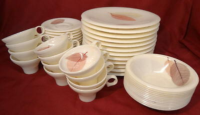 Russel Wright MING LACE LEAVES Tinted Bamboo Flair Melmac 48pc Dishes Set-Scarce