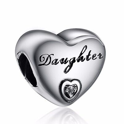 European Charms Letter Daughter Bead Fit Sterling 925 Silver Bracelets Bangle