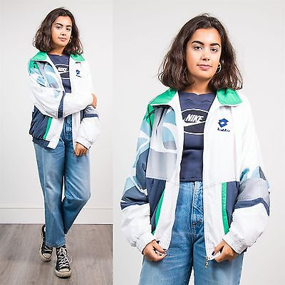 Vintage 90's Shell Womens Tracksuit Jacket Lottto Sports Top Patterned 16 18