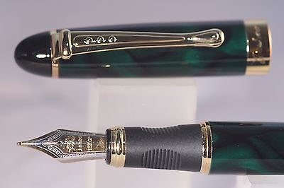 New Jinhao x450 Deep Green Marble Medium Fountain Pen with Gold Trim, UK Seller