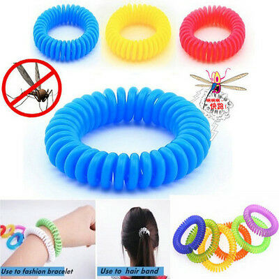 10PCS Anti Mosquito Insect Repellent Wrist Hair Band Bracelet Camping Outdoor JT