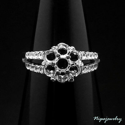 Ring Setting Sterling Silver 3.2 mm. Round. size 6.75