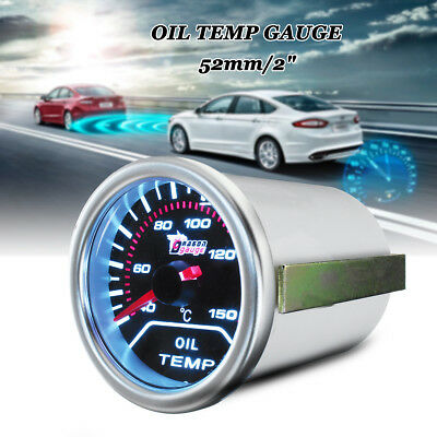 "2"" 52mm Car Universal Smoke Len LED Pointer Oil Temp Temperature Gauge Meter 12V"