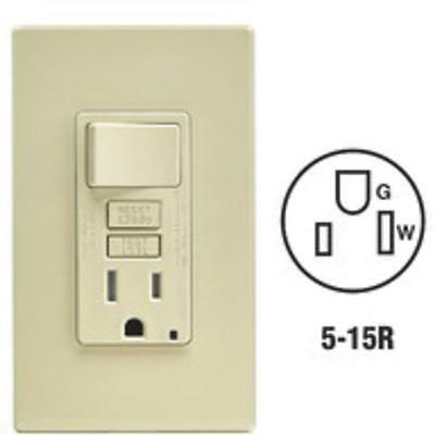 3 Pk Leviton Ivory Self-Test GFCI Switch & Outlet With Wallplate C91-GFSW1-00I