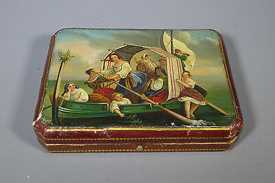 Fine Antique German? Sewing Kit With Silver Fittings And Hand Painted Lid