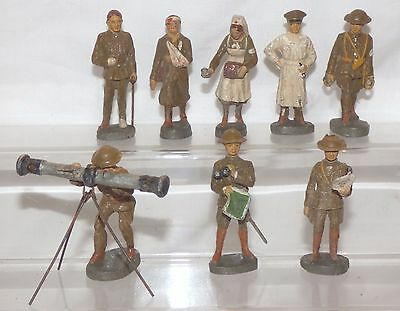 CF06 - Elastolin Germany 70mm Composition - 8 English / American ? Soldiers