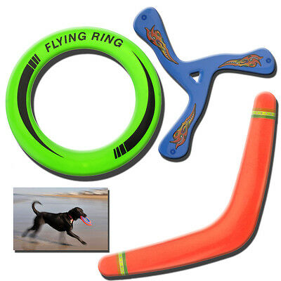 Frisbee Flying Ring Boomerang Spinner Dog Puppy Fetch Outdoor Kids Throwing Toys