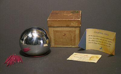1930s Russel Wright Art Deco Cocktail Ball by Chase, Original Box, Machine Age