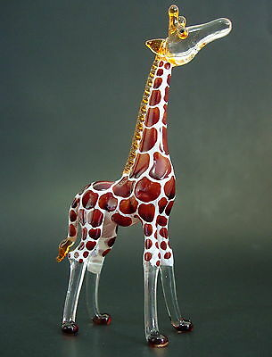 TALL Feeding Glass GIRAFFE Brown Hand Painted Glass Animal Glass Ornament Gift