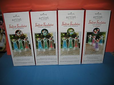 Hallmark Festive Fountains Snowman - Set Of 4 - Brand New In Box !