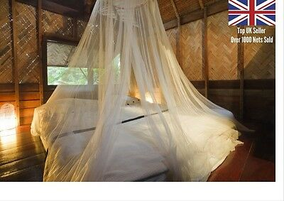 Large White Mosquito Net White Bed Canopy-Hanging Kit-Extension Cord-Mosi Bag