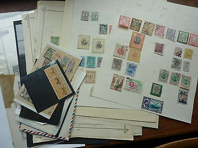 MIDDLE EAST/CENTRAL ASIA LARGE STAMP COLLECTION ON PILE OLD ALBUM PAGES w/BETTER
