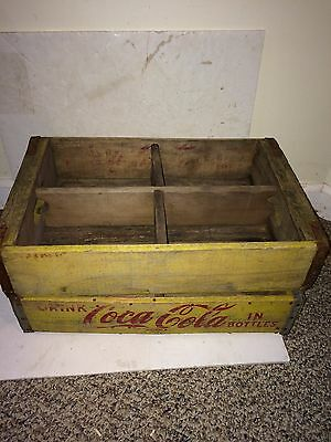 Two Vintage 1960's Wood,Metal,Yellow & Red Coca-Cola Soda Pop Crate Crates